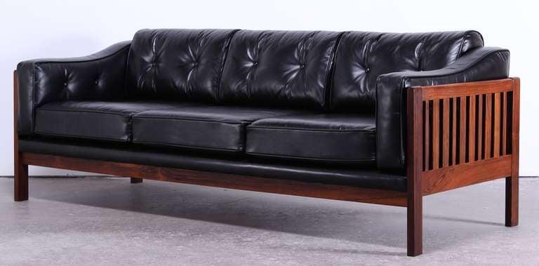 Beautiful Danish Mid Century Modern Rosewood And Black Leather Sofa 3