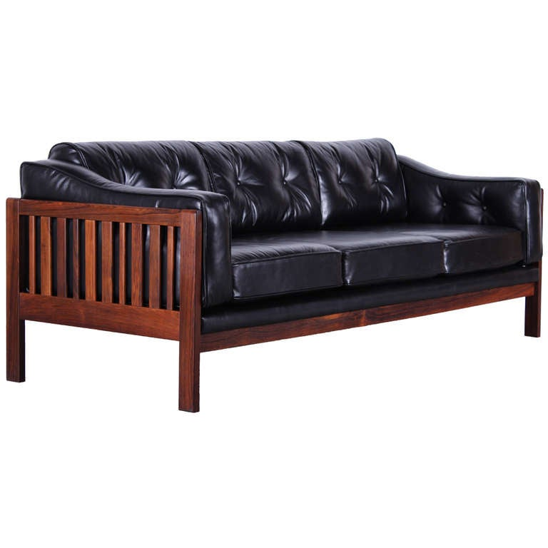 danish mid century modern rosewood and black leather sofa at 1stdibs