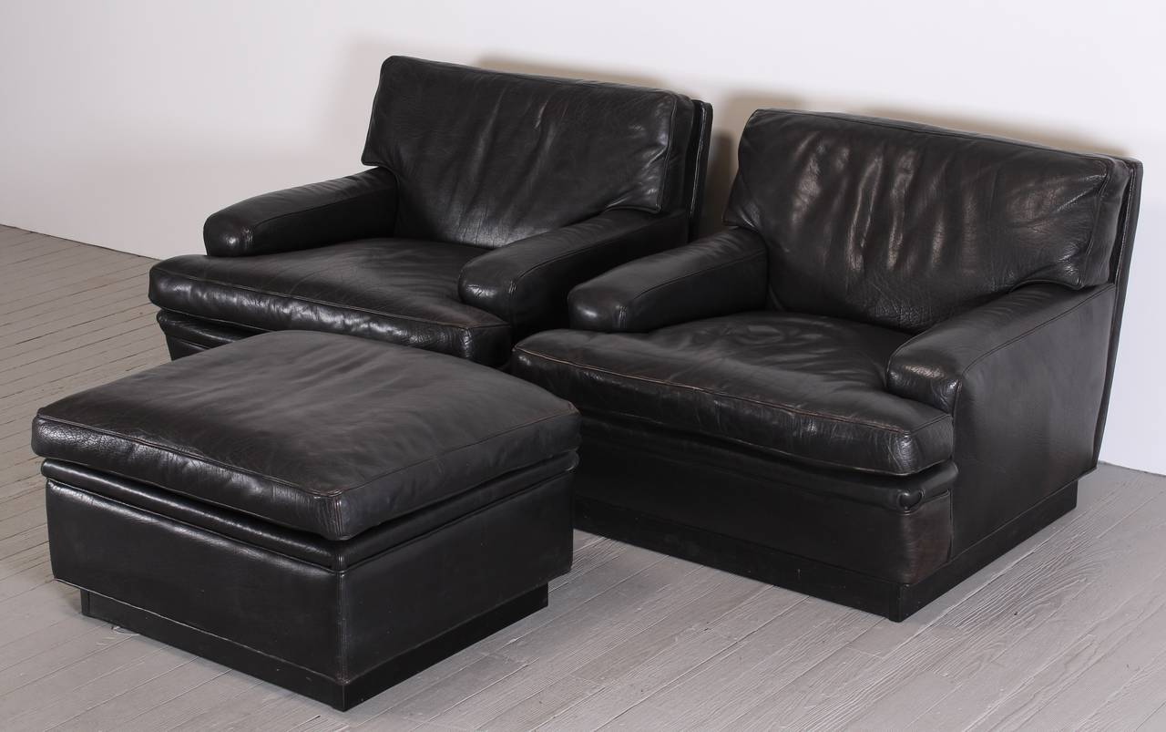 Black ottoman chair - Pair Of Black Leather Chairs And Ottoman By Arne Norell