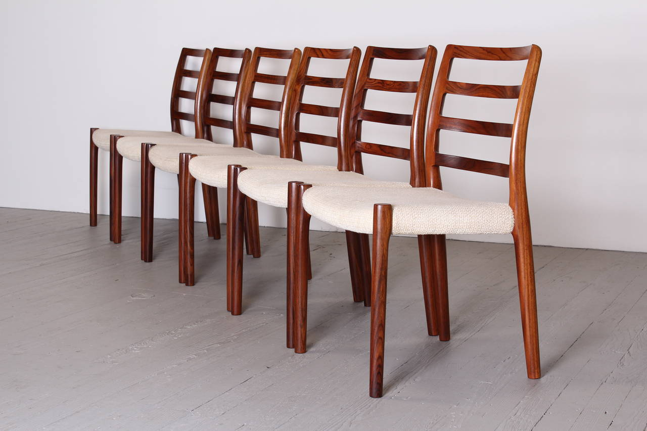 A Fine Set Of Six Rosewood Dining Chairs By Niels O. Møller For J.L. Moller
