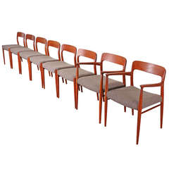 Eight Danish Teak Dining Chairs by Niels Moller for J.L. Moller, No. 77