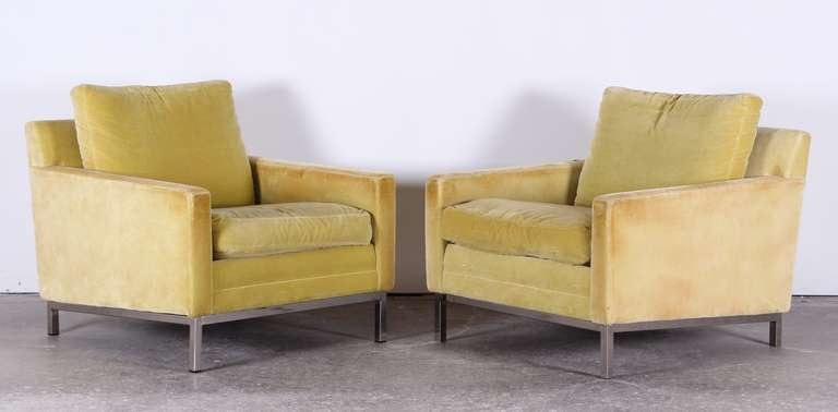 Pair of Florence Knoll Style Stainless Steel Club Chairs, 1960 3