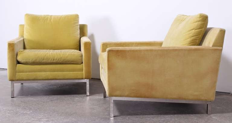 Pair of Florence Knoll Style Stainless Steel Club Chairs, 1960 4