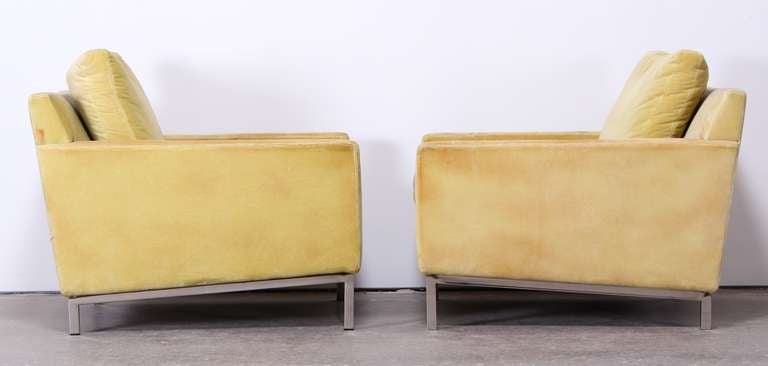 Pair of Florence Knoll Style Stainless Steel Club Chairs, 1960 2