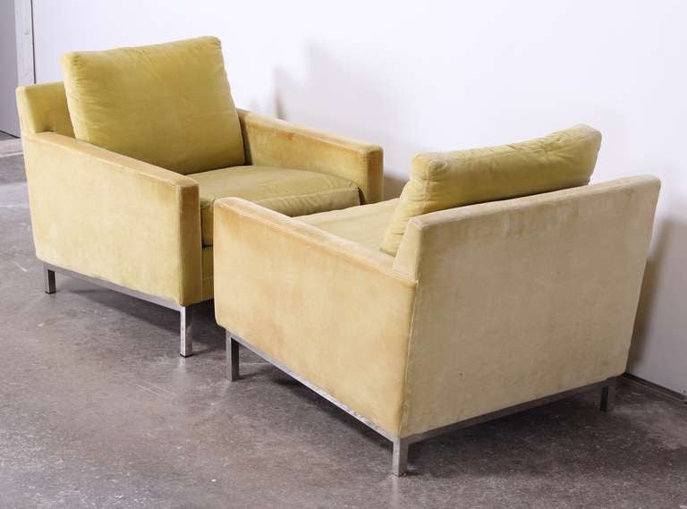 Pair of Florence Knoll Style Stainless Steel Club Chairs, 1960 5