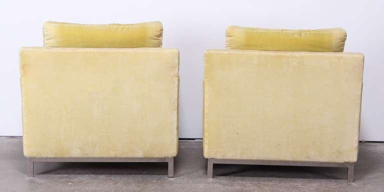 Pair of Florence Knoll Style Stainless Steel Club Chairs, 1960 7