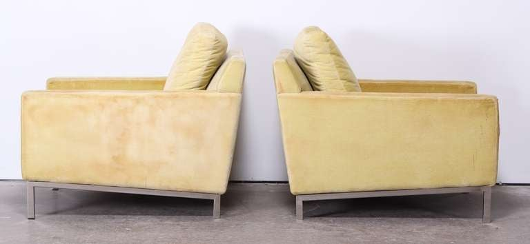 Pair of Florence Knoll Style Stainless Steel Club Chairs, 1960 6
