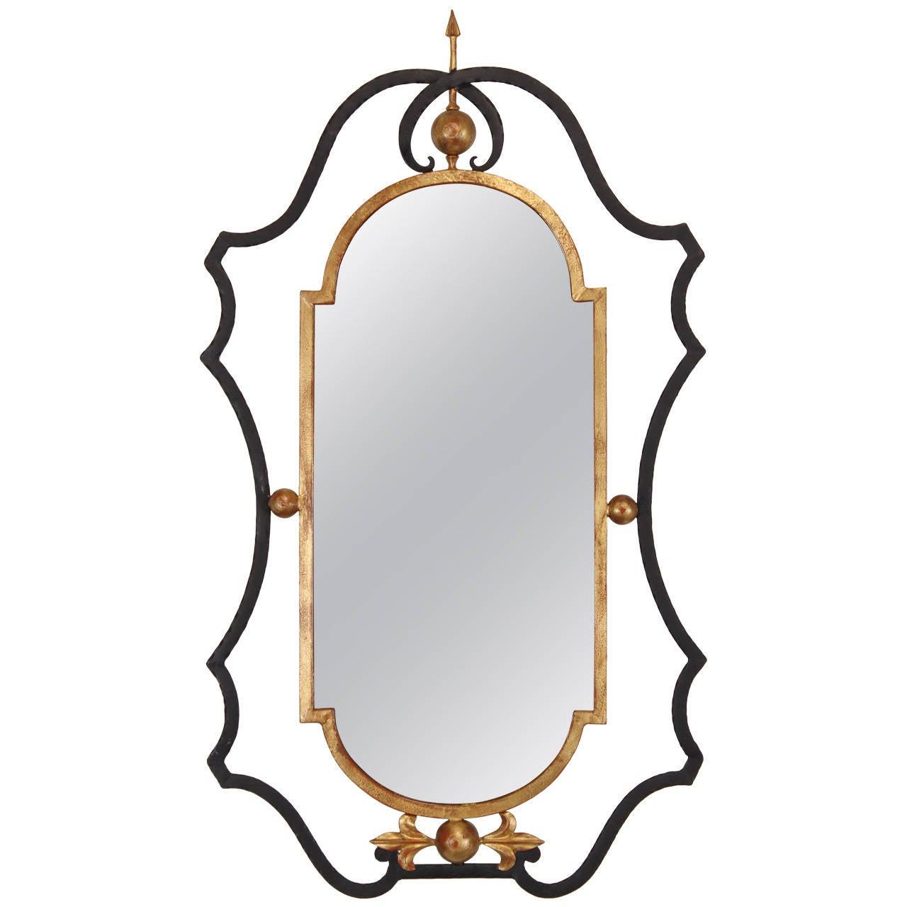 Italian wrought iron and gilt palladio mirror 1960 at 1stdibs for Wrought iron mirror