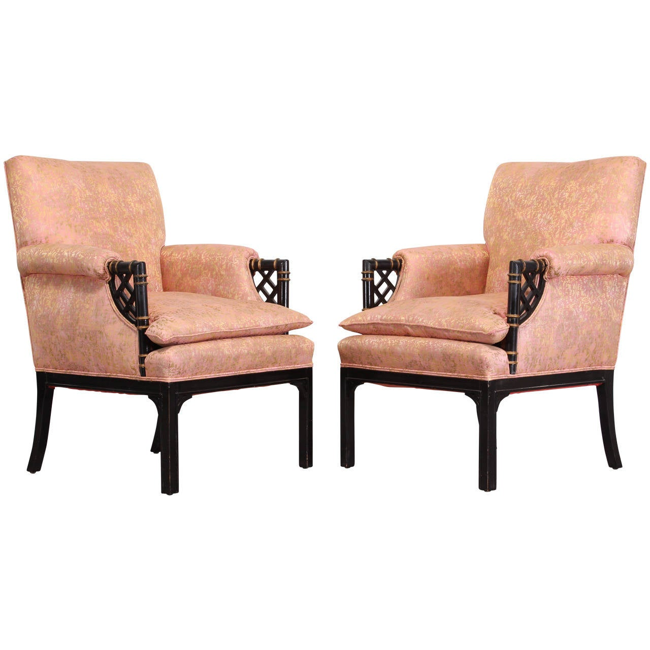 Hollywood Regency Ebonized Arm Chairs, 1940 at 1stdibs