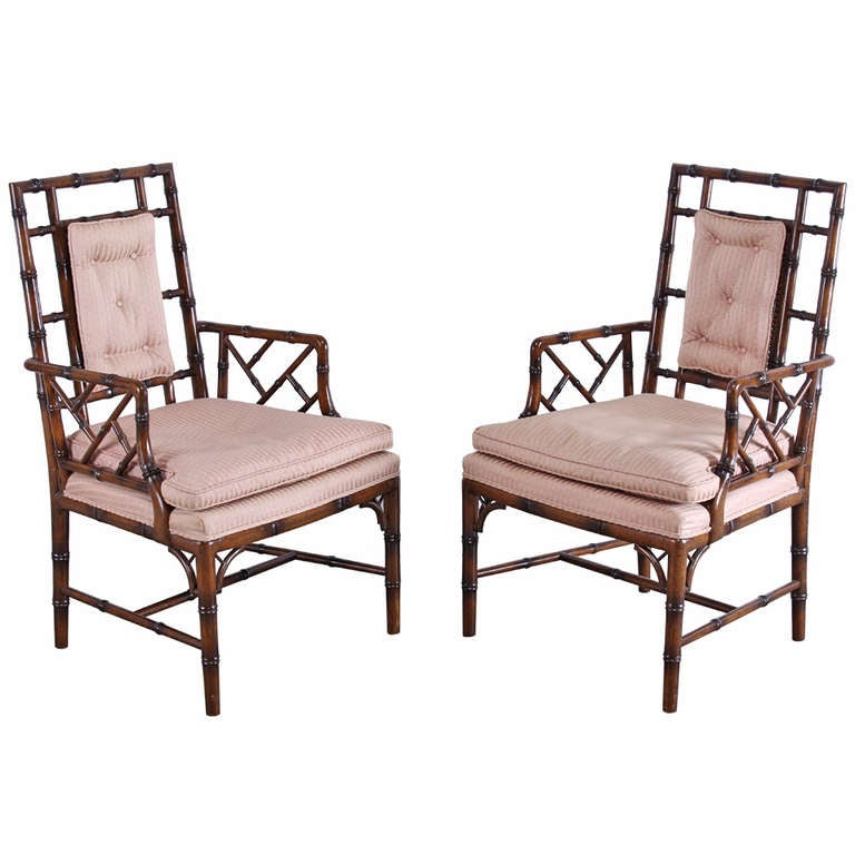 Bamboo Chair With Arms: Hollywood Regency Baker Style Faux Bamboo Arm Chairs At