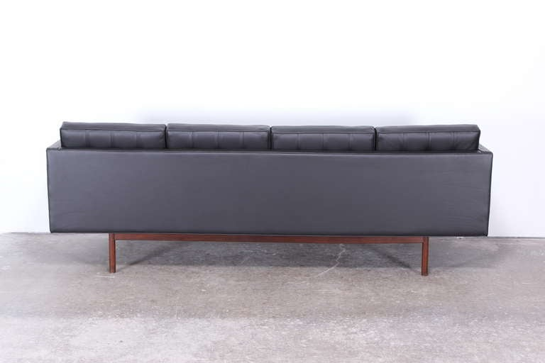 milo baughman for thayer coggin black leather danish style sofa at 1stdibs. Black Bedroom Furniture Sets. Home Design Ideas