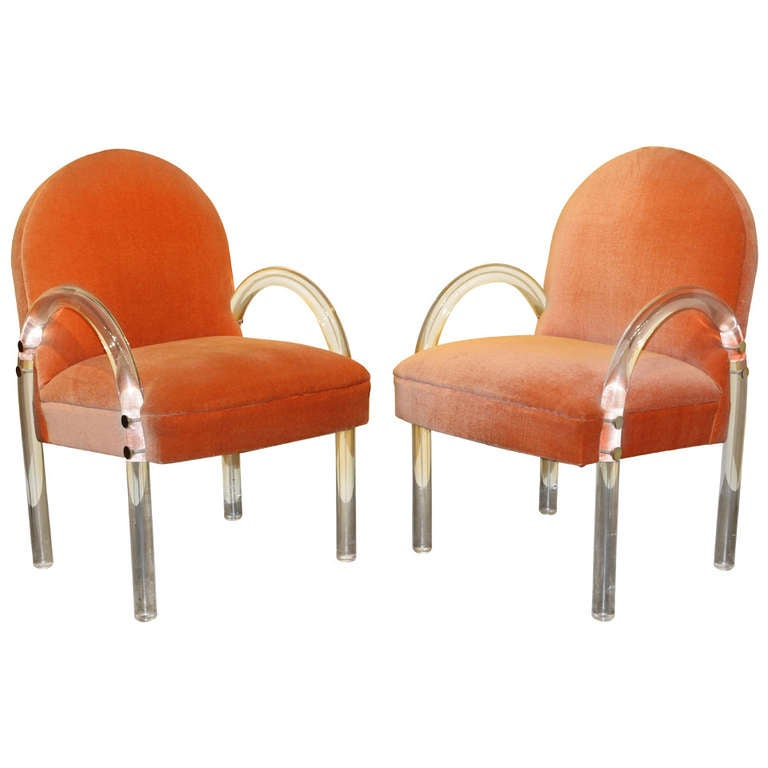 Pair of Pace Lucite Arm Chairs at 1stdibs