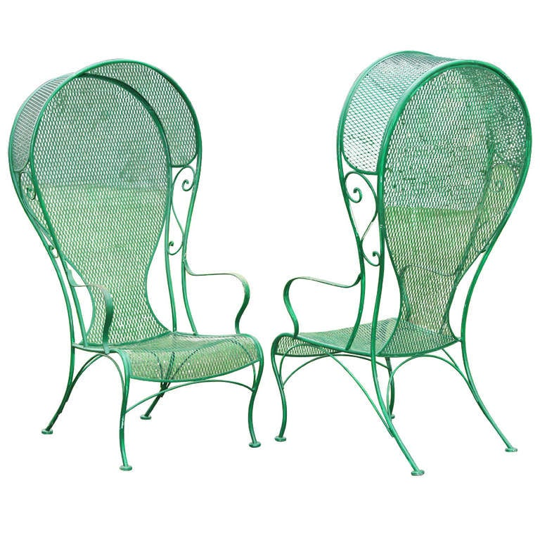 Wrought Iron Arm Chairs ~ Pair of woodard hollywood regency hooded wrought iron arm