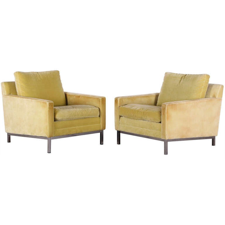 Pair of Florence Knoll Style Stainless Steel Club Chairs, 1960 1