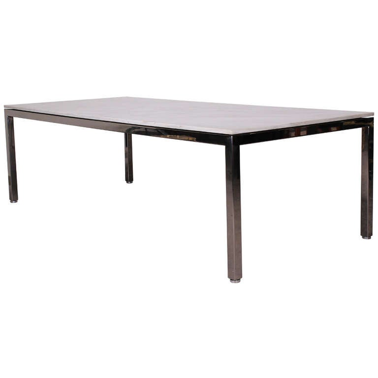 Large Knoll Style Stainless Steel and Marble Dining Table  : 843511l from 1stdibs.com size 768 x 768 jpeg 15kB