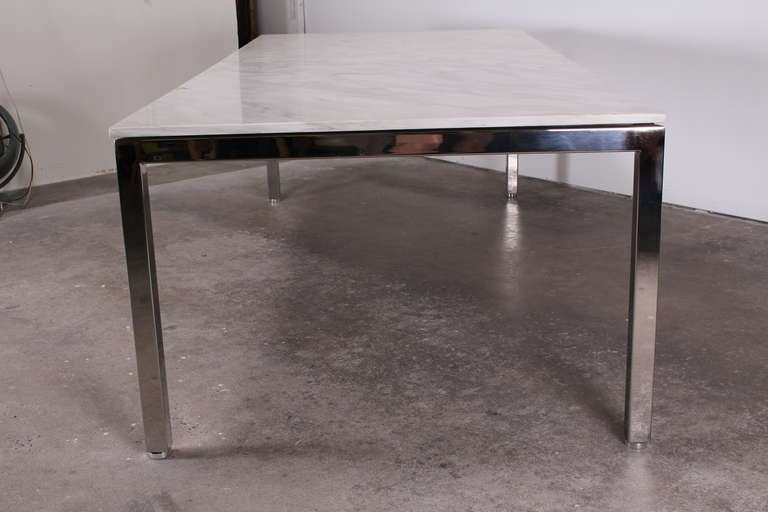 large knoll style stainless steel and marble dining table
