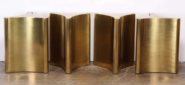 Four Brass Pedestal Table Bases By Mastercraft 3