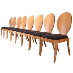 Set of Four Biedermeier Style Custom Maple and Mother-of-Pearl Dining Chairs