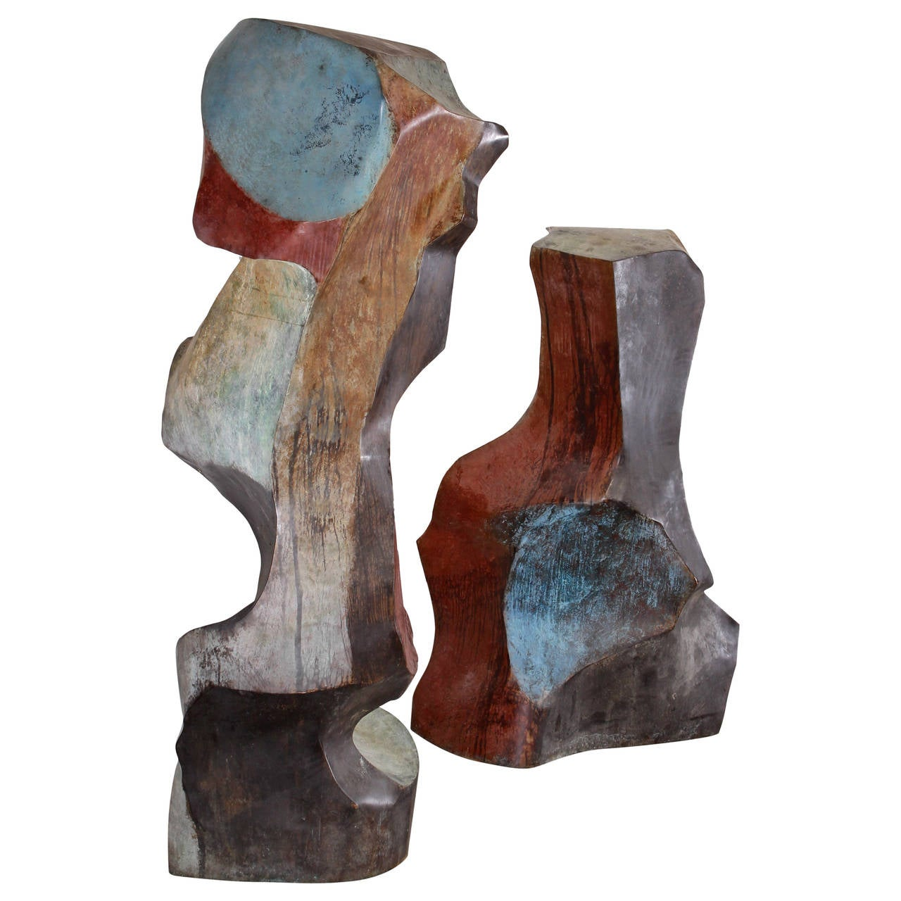 "Monumental Pair of ""Canyon Road"" Outdoor Sculptures by Jon Krawczyk, 1999"