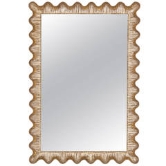 Italian Scalloped Silver and Gold Gilt Frame Friedman Brothers Mirror