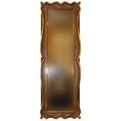 Modernist Hand Carved Gold Leaf Mirror Signed S. Corneal 59