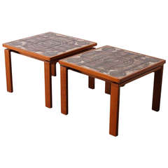Pair of Danish Tile End Tables by Ox-Art