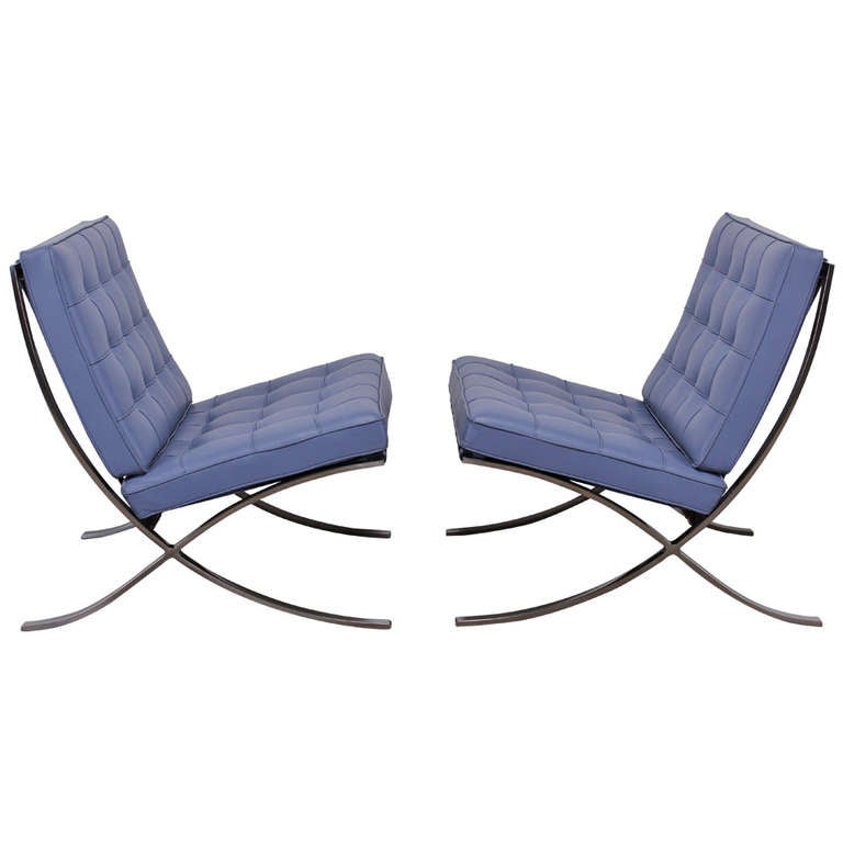 custom leather knoll barcelona chairs by ludwig mies van. Black Bedroom Furniture Sets. Home Design Ideas