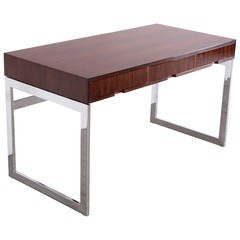 Chic Rosewood and Chrome Base Desk by Milo Baughman, 1970