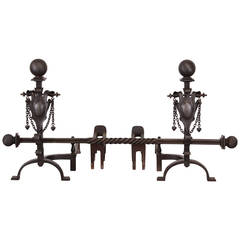 Pair of Hand-Wrought Andirons, 1900s