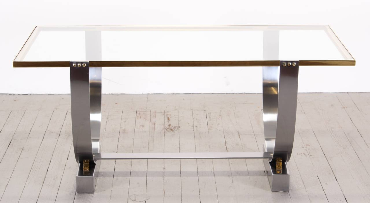 donald deskey polished steel console table for deskeyvollmer inc  - donald deskey polished steel console table for deskeyvollmer inc