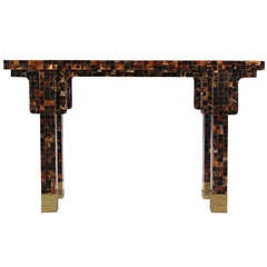 Exceptional Karl Springer Style Horn Parsons or Console Table