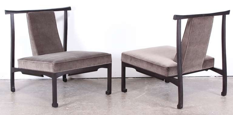 Pair Of James Mont Style Asian Lounge Chairs At 1stdibs