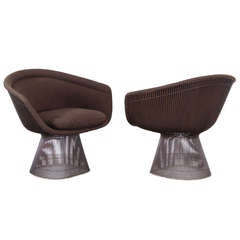 Pair of Warren Platner Bronze Lounge Chairs for Knoll, 1971