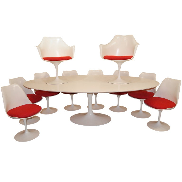 Knoll dining room set 10 chairs and 8ft table by eero for 8ft dining room table