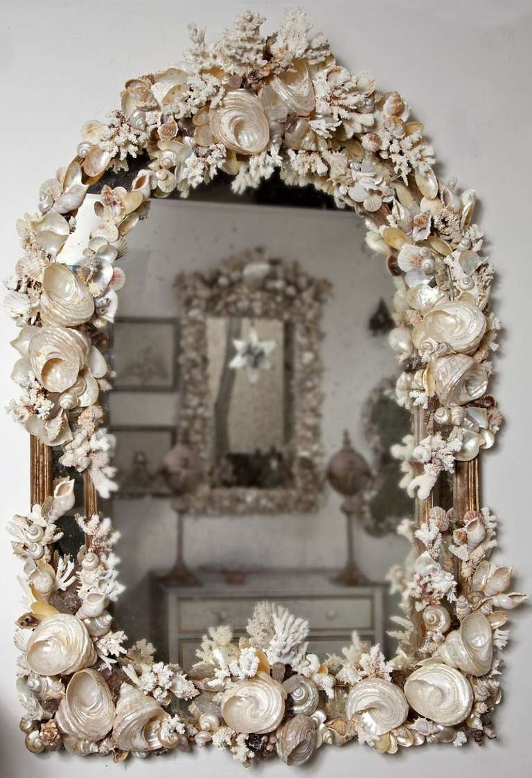 Mid Century Mirror Shell Encrusted With Shell And Coral At