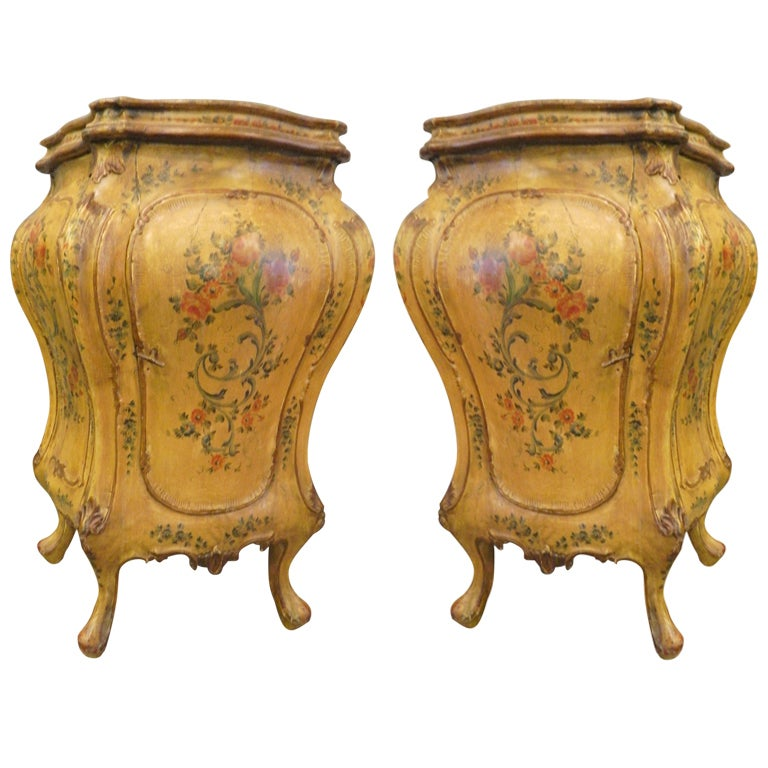 Pair Antique Italian Painted Bombe Cabinets At 1stdibs