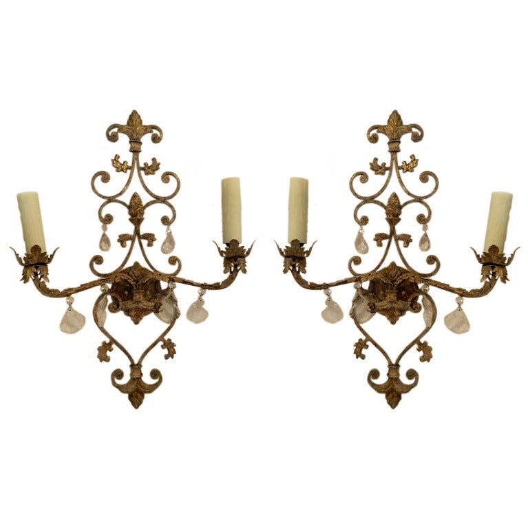 Custom Metal Wall Sconces : Pair Iron and Crystal Two Lite Sconces Custom Finish at 1stdibs