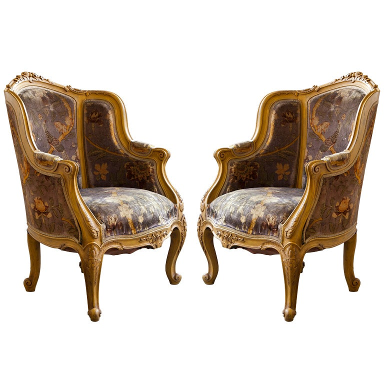pair louis xiv style french antique bergere arm chairs at 1stdibs