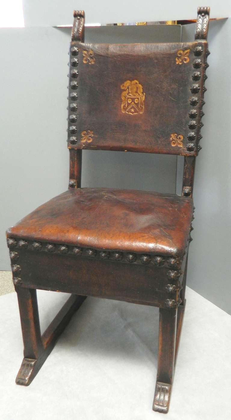 Six Spanish Colonial Style Side Chairs At 1stdibs