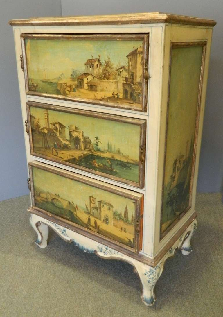 Painted italian side cabinet at 1stdibs for Italian painted furniture