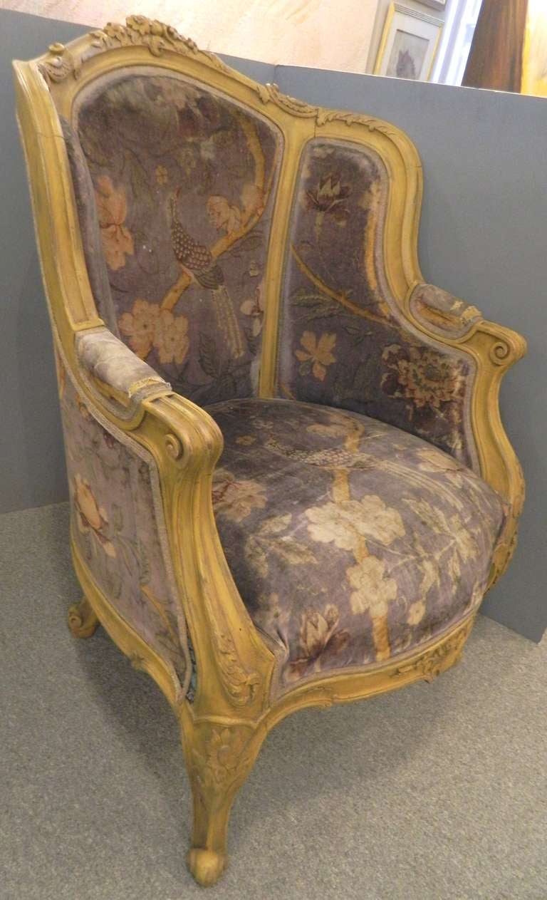 Antique bergere chair - Pair Louis Xiv Style French Antique Bergere Arm Chairs 3