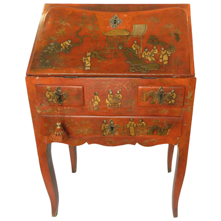 Antique Red Chinoiserie Writing Desk At 1stdibs