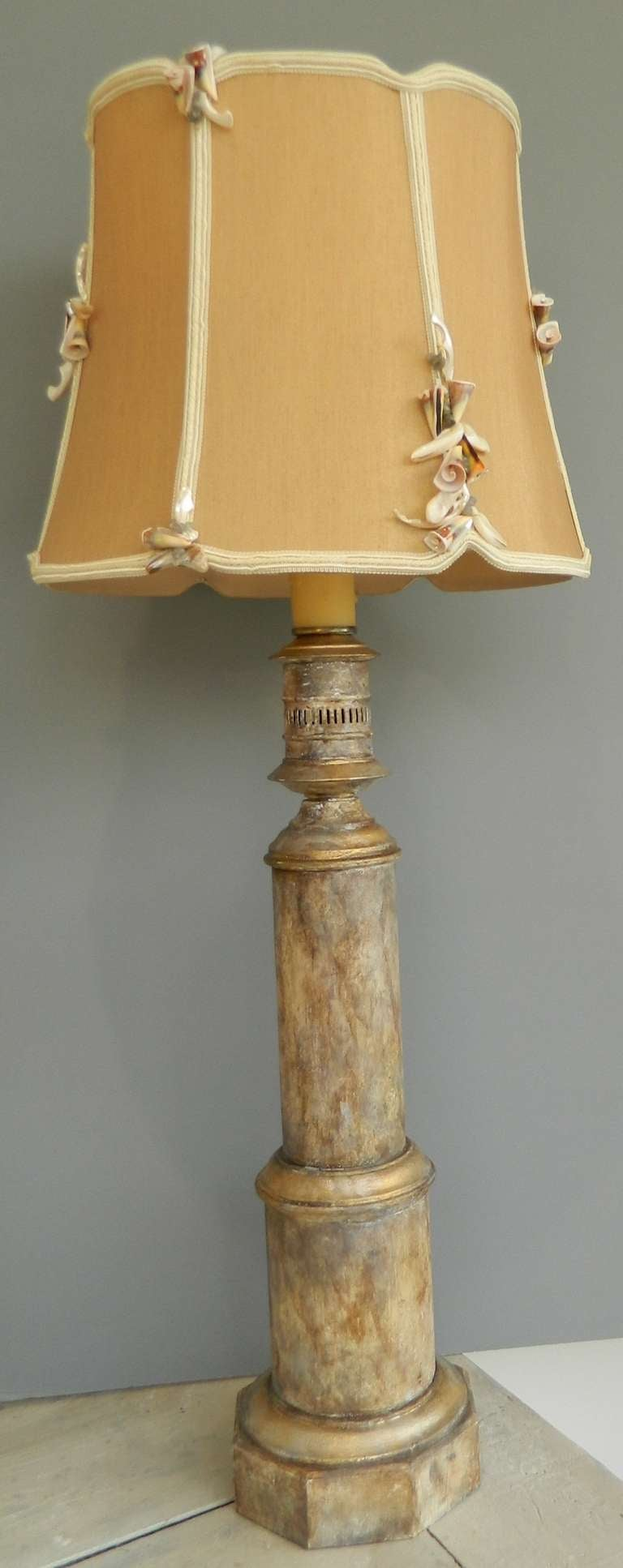 Pair Faux Marbleized Table Lamps Custom Shell Shades At