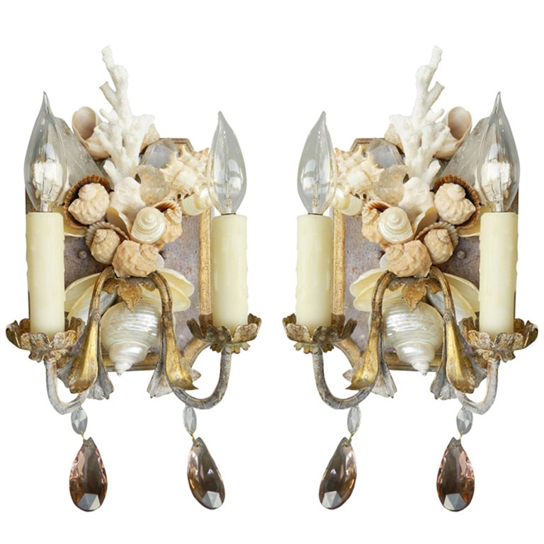 Pair Of Shell And Coral Painted Wall Sconces At 1stdibs