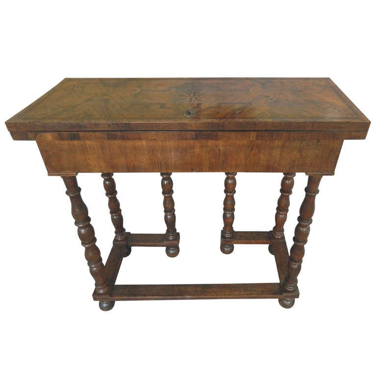 Antique Marquetry Decorated Italian Flip Top Table At 1stdibs
