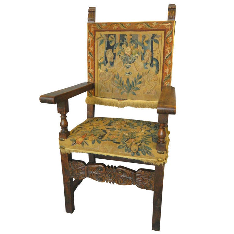 Antique Italian Carved Renaissance Style Armchair at 1stdibs
