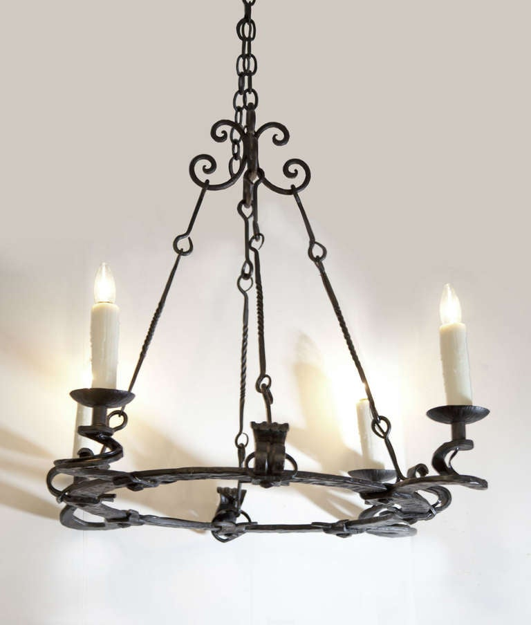 Hammered iron arts and crafts chandelier at 1stdibs for Arts and crafts chandelier