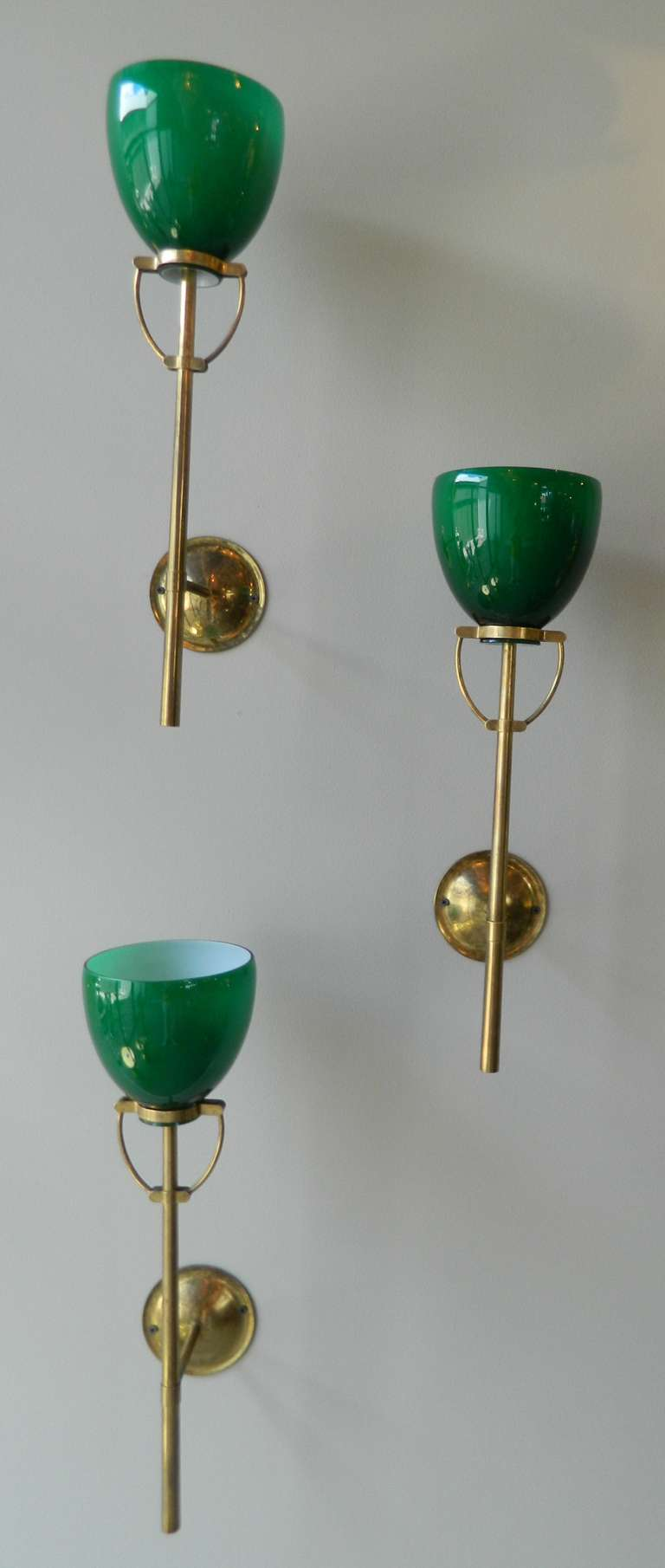 Three Italian Green Glass Sconces, 1940 s at 1stdibs