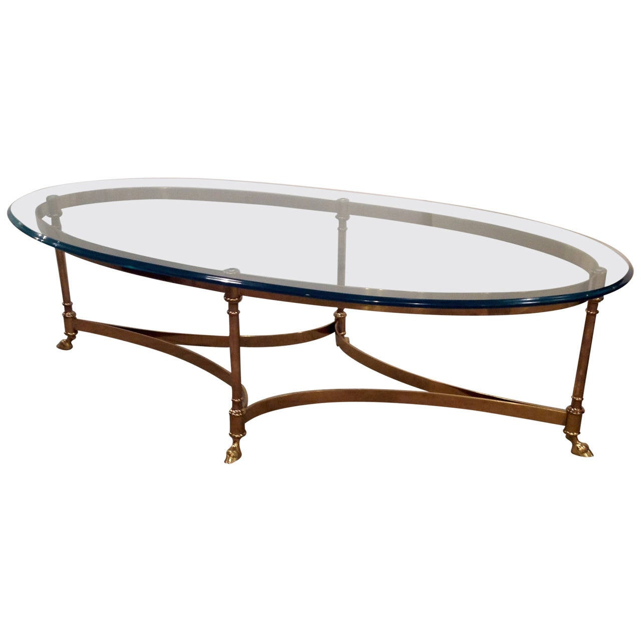 Oval Brass Coffee Table Mid-Century At 1stdibs