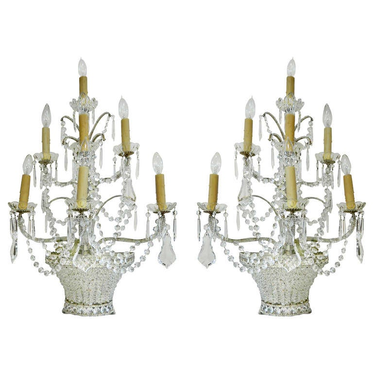 Large Crystal Wall Sconces : Pair Large Beaded Crystal Wall Sconces For Sale at 1stdibs